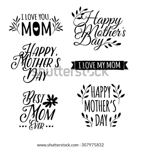 Set of monochrome of simple retro logos, badges, labels, signs to celebrate Mother's Day. Floral elements. Vector. - stock vector