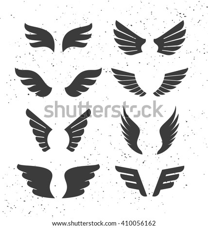 Set of monochrome open wings for badges and signs. Vector symbolic black wings isolated on white. Silhouettes of stylized flapping wings. - stock vector