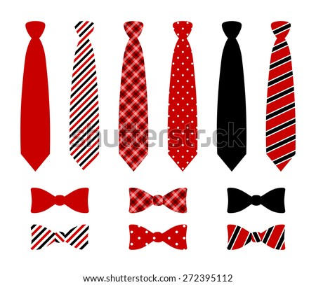 Set of monochrome, plaid, checkered, diagonal lined and polka dot silk ties and bow tie pattern template. Red, blue and black color design. vector art image illustration, isolated on white background - stock vector