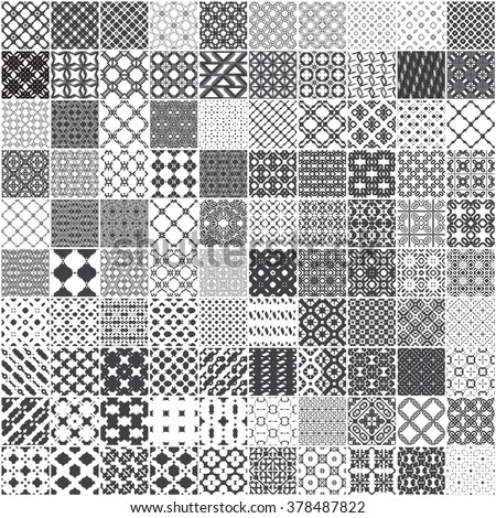 set of 100 monochrome seamless patterns pattern