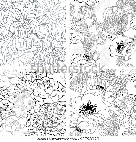 Set of monochrome seamless wallpaper - stock vector