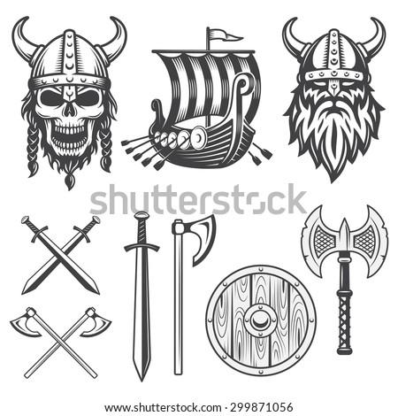 Set of monochrome viking elements isolated on white background - stock vector
