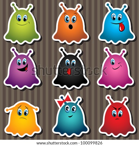 set of monster stickers - stock vector