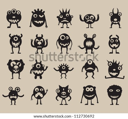 Set of monsters silhouettes  - vector illustration - stock vector