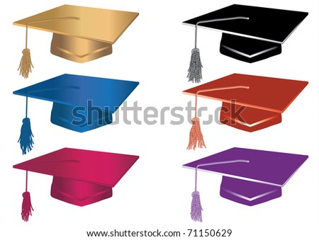 Set of mortars in red,blue,black,gold.Each in separate layers for easy editing. - stock vector