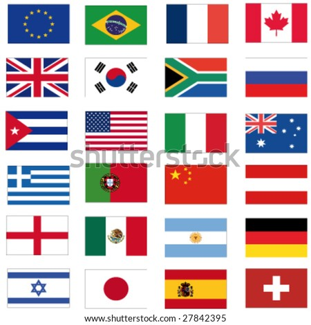 set of most important flags - stock vector