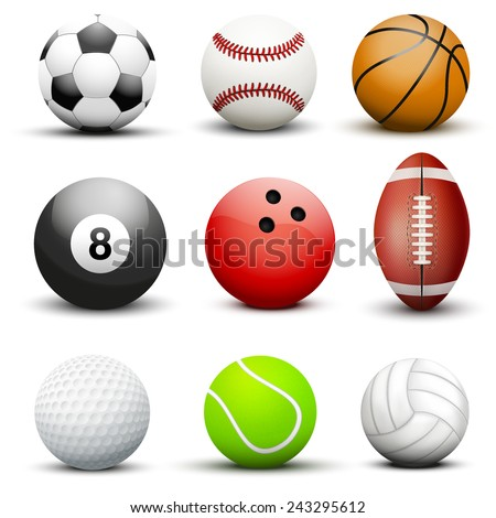 Set of most popular sport balls. Vector illustration Isolated on white background.