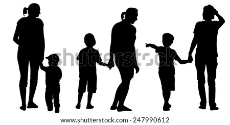 set of mothers with children - stock vector
