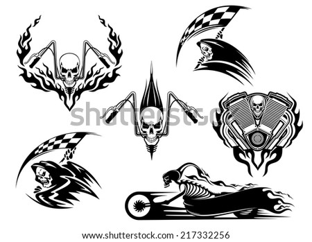 Set of motor racing skulls in black and white designs with a grim reaper holding a checkered flag, racing skull on handlebars and skeleton on a speeding roadster bike trailing flames - stock vector