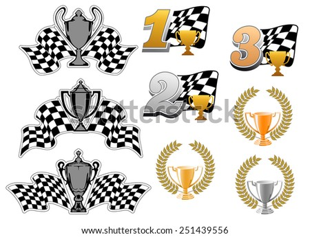 Set of motor sport and racing  icons with 1st, 2nd and 3rd places, trophies, wreaths and checkered flags for championship awards - stock vector
