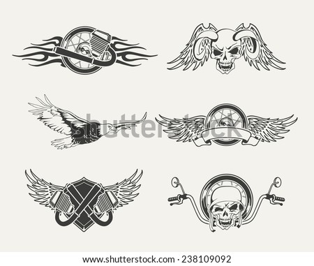 Set of motorcycle emblems, badges, labels and designed elements. - stock vector