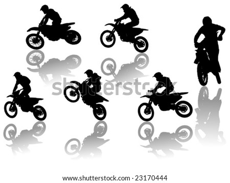 set of motorcyclists - stock vector