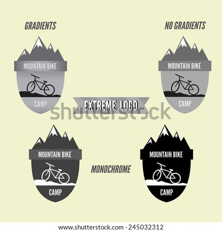 Set of mountain bike camping logo badge and banner. Bicycle for extreme lifestyle. Grayscale design with gradients, no gradients and monochrome. Vector illustration - stock vector