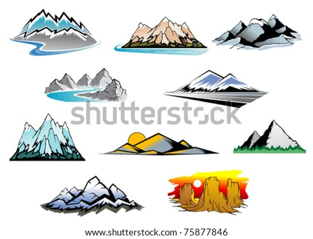 Set of mountain landscapes with winding rivers, snow and a sunset or sunrise background, ten different design elements. Jpeg version also available in gallery - stock vector