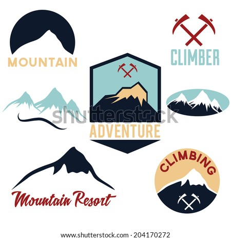 set of mountains and climbing icons  - stock vector