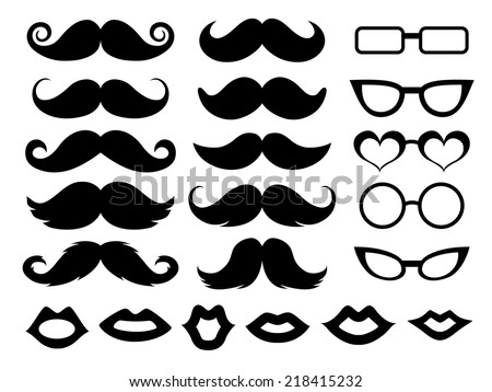 Set of moustaches, glasses and lips - stock vector