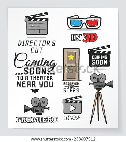 Set of movie and cinema related hand drawn design elements. EPS10. - stock vector