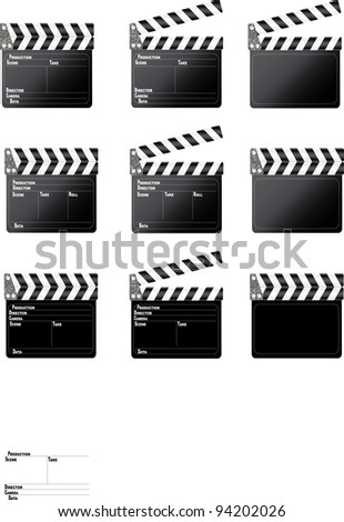 Set of movie clap board on white background. - stock vector
