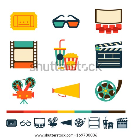 Set of movie design elements and cinema icons. - stock vector