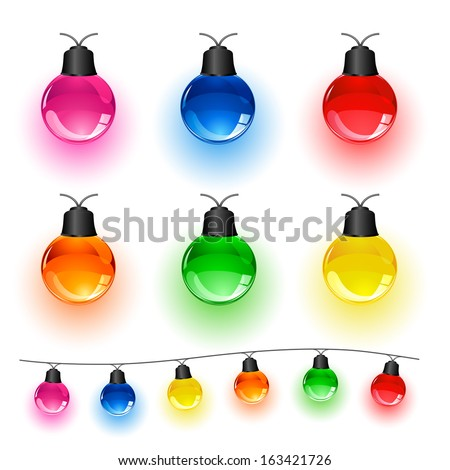 Set of multi-colored Christmas light bulbs isolated on white background, illustration. - stock vector