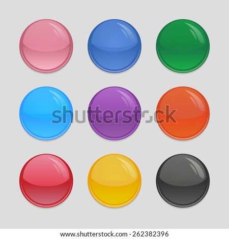 Set of multi-colored glass buttons for your design
