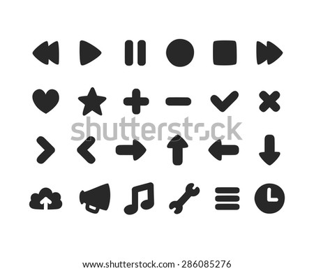 Set of multi-purpose rounded interface icons for web or app. Subtly irregular, hand drawn feel. - stock vector