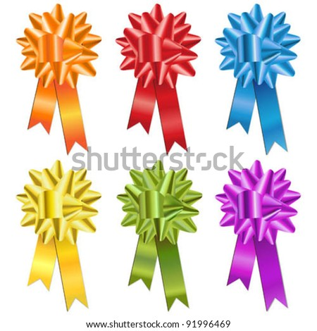 Set of multicolor bows - stock vector