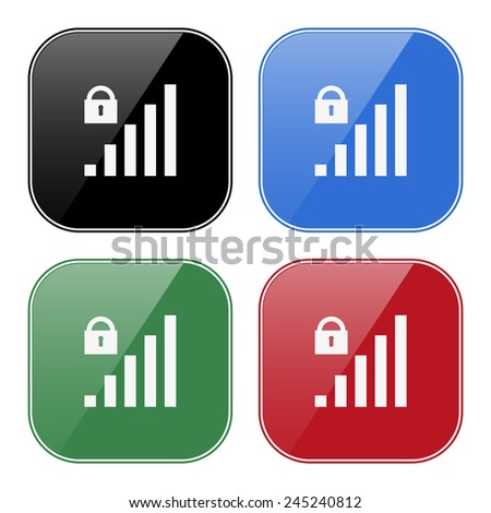 Set of multicolored buttons for mobile applications and web sites, black, blue, green, red. signal strength indicator, closed access , vector illustration, EPS 10 - stock vector