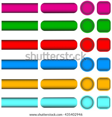 Set of multicolored buttons rectangular round square - stock vector