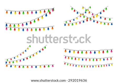 Set of multicolored Christmas light bulbs hanging on white background, illustration. - stock vector