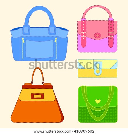 Set of Multicolored fashion women's handbag standing in front on a white background.Isolated objects from falling shadow.Casual and festive.Fashion illustration,vector - stock vector