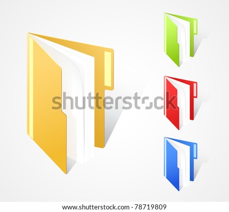 set of multicolored full folders with text field. EPS10. - stock vector