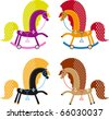 set of multicolored funny toy horses. vector illustration for design - stock photo
