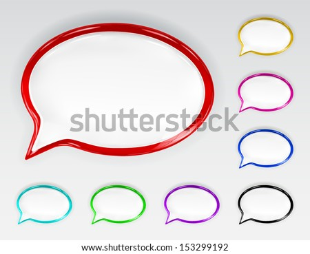 Set of multicolored glossy speech bubbles with glare and shadows - stock vector