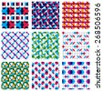 Set of multicolored grate seamless patterns with parallel ribbons and geometric figures, transparent symmetric bright wavy tiles, infinite geometric surface textures. - stock vector