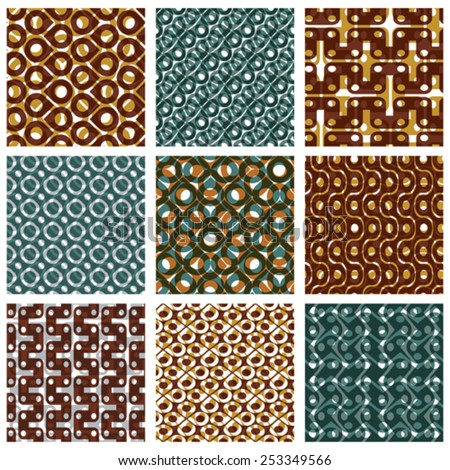 Set of multicolored grate seamless patterns with parallel ribbons and geometric figures, transparent symmetric bright wavy tiles, infinite geometric surface textures with diamonds and squares - stock vector