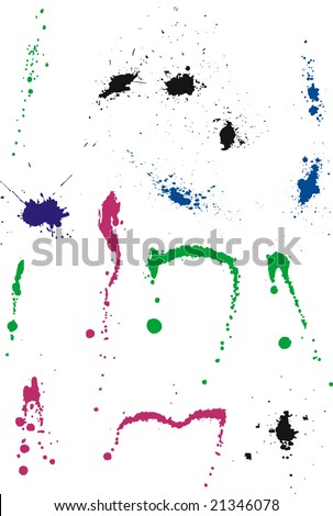 Set of multicolored ink splashes and stains - stock vector
