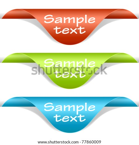 Set of multicolored label corners. Vector eps10 illustration - stock vector