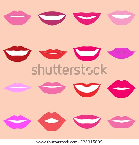 set multicolored lips on background various stock vector royalty