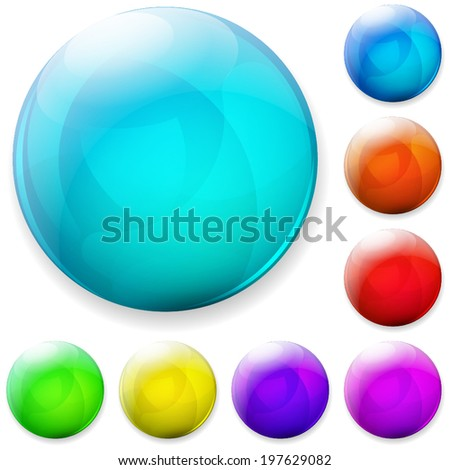 Set of multicolored plastic or glass buttons - stock vector