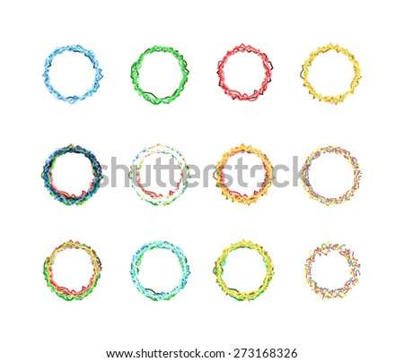 Set of multicolored round stars isolated. vector illustration - stock vector