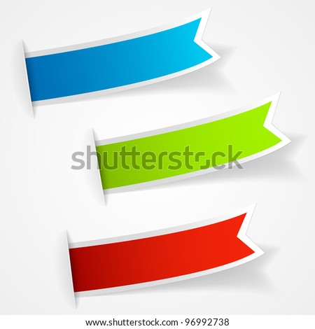 Set of multicolored sticker labels. Vector eps10 illustration - stock vector