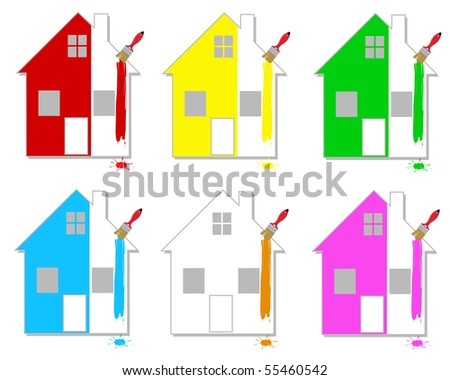 Set of multicoloured houses on a white background