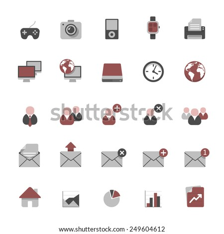 Set of multimedia flat design icons 2 - devices, business, office & graphs - stock vector
