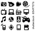 Set of multimedia icons-- Silhouettes - stock vector