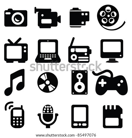 set of multimedia icons   Iphone Silhouette Icon