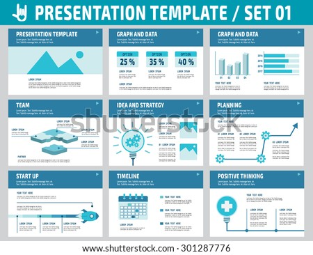 Set of multipurpose business presentation template.