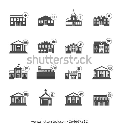 Set of municipal vector houses black and white isolated - university school library museum capitol embassy parliament hospital post church kindergarten prison police court cemetery theater fire  - stock vector