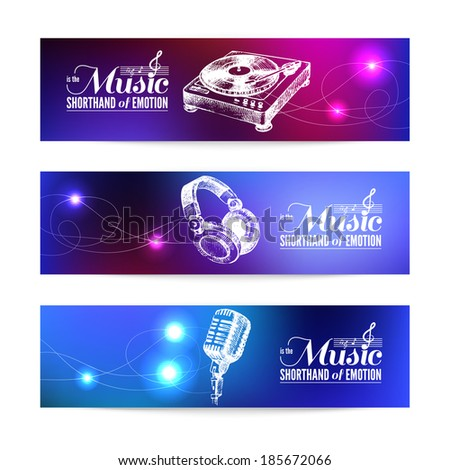 Set of music banners. Hand drawn illustrations and typography design  - stock vector
