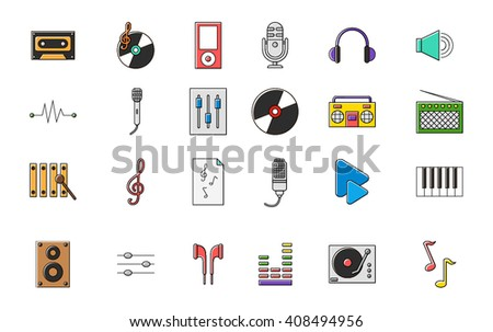 Set of 24 Music colorful vector icons